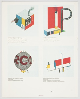 Print, Page Proof with Four Project Proposals, from Herbert Bayer: Painter, Designer, Architect