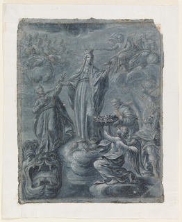 Recto: The Virgin stands on a cloud in the center of the composition, holding a crown. She is surrounded on either side by visitors bearing gifts. In the background God the Father sits overlooking the scene. On the left a youth stands in veneration on top of a large monster head. Verso: young man's head facing right.