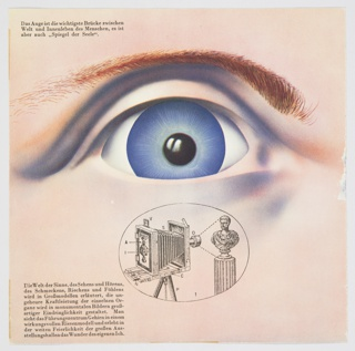 "Page from the booklet for the exhibition, ""Das Wunder des Lebens"" (""The Miracle of Life""). The page contains a close-up of a person's eye. The eye is blue, with a reddish-brown eyebrow above. Directly below, an illustration printed in black of what appears to be a camera obscura appears inside an oval. German text printed in black appears at upper left and lower left. Verso: An array of gold objects that appear to be models explaining the cell division of organisms and their shadows appear against a purple background. German text printed in black appears at upper left."