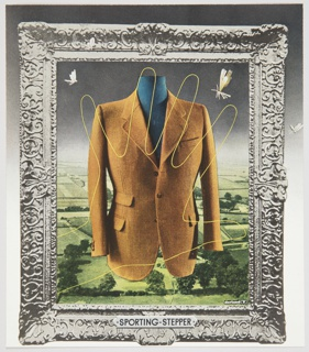 "Advertisement proof for Sporting-Stepper featuring a brown sport coat in the center. A landscape with green grass and trees is in the background, and two winged insects fly above. The scene is surrounded by an elaborately decorated silver frame, with ""SPORTING-STEPPER"" appearing at the bottom center."