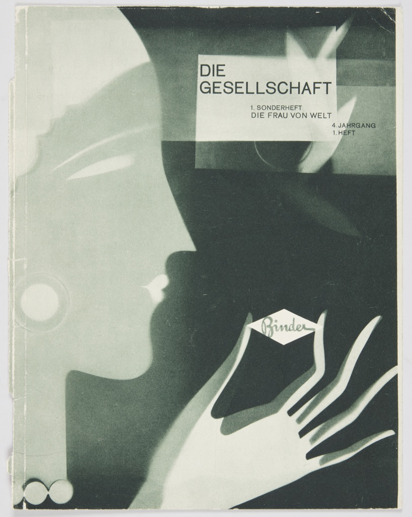 """Booklet cover featuring a green and white silhouette of a woman on the left in profile against a blackish-green background. She raises a hand in front of her face and holds the Binder logo, a horizontal white diamond with the word """"Binder"""" inside in green cursive text. Printed in black, against a greenish-white background, upper right: DIE / GESELLSCHAFT / 1. SONDERHEFT / DIE FRAU VON WELT / 4. JAHRGANG / 1. HEFT. Verso: Singer sewing machine advertisement containing black and white photographic reproductions and black printed text. """"SINGER"""" appears in black outlined block letters at upper left."""