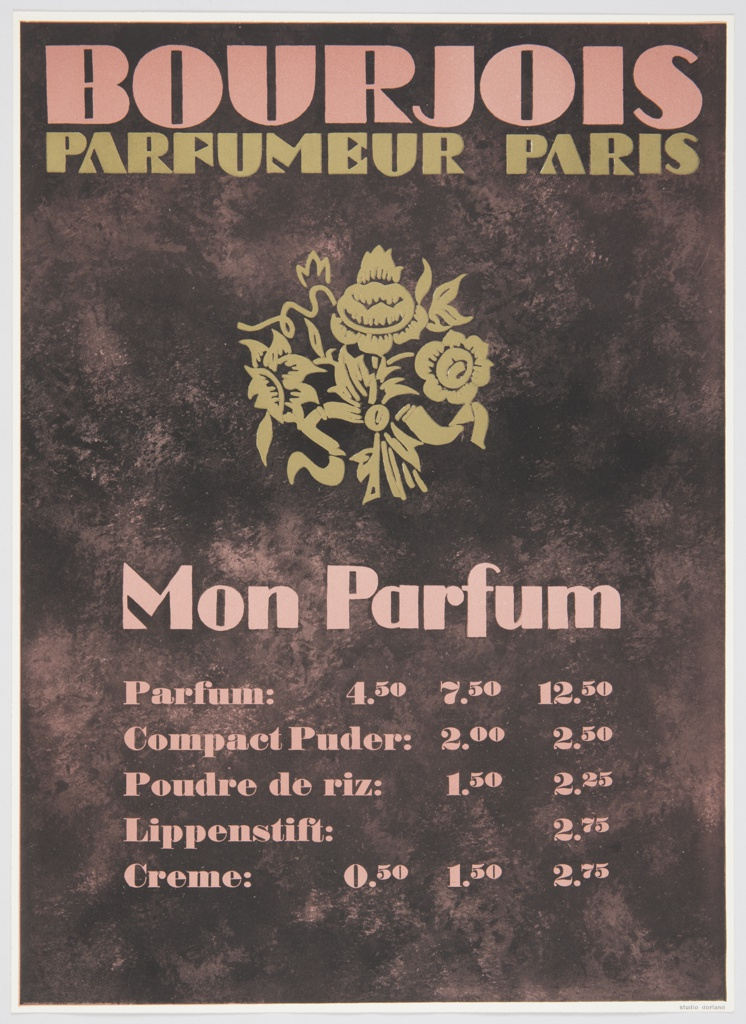 Advertisement proof for Bourjois Parfumeur. Contains a yellow bouquet of flowers at center and pink and yellow text against a brown background. Printed in pink, along the top: BOURJOIS; in yellow, directly below: PARFUMEUR PARIS; in pink, below flowers: Mon Parfum / Parfum: 4.50 7.50 12.50 / Compact Puder: 2.00 2.50 / Poudre de riz: 1.50 2.25 / Lippenstift: 2.75 / Crème: 0.50 1.50 2.75.