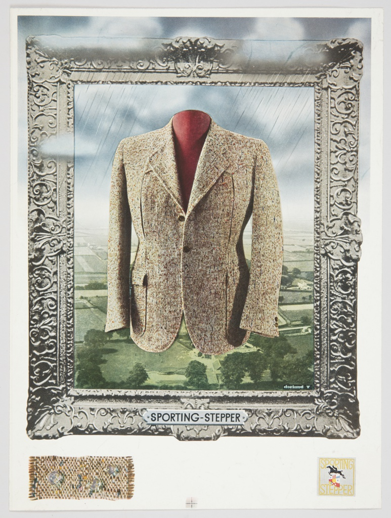 """Advertisement proof for Sporting-Stepper featuring a light brown sport coat in the center. A landscape with green grass and trees is in the background, with a cloudy sky above. Faint diagonal lines suggest rain. The scene is surrounded by an elaborately decorated silver frame with """"SPORTING-STEPPER"""" appearing at the bottom center. A fabric swatch or sample covered in droplets is at lower left, and the Sporting Stepper logo is at lower right."""