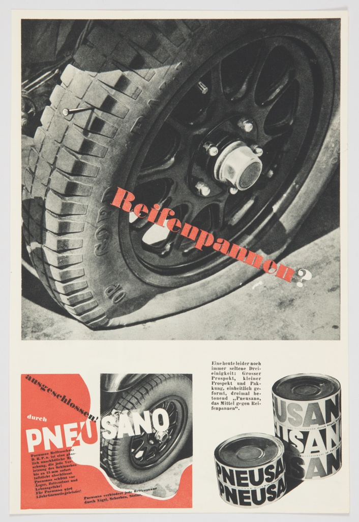 """Advertisement proof for Pneusano featuring a black and white photographic reproduction of a flat tire on the upper portion, with """"Reifenpannen?"""" printed in red, diagonally, across the image. Contains black and white images of the product and black printed text at lower right. At lower left, an image of a normal, inflated tire, surrounded by red containing printed black and white text. """"PNEUSANO"""" appears in white and red across the inflated tire. Verso: Advertisements in black, white, and red for Otto Jachmann AG and LMS (London Midland and Scottish Railway)."""