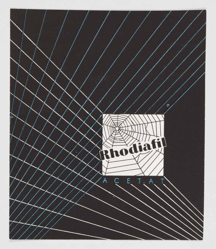 """Advertisement for Rhodiafil, a company that appears to specialize in acetate fabric. Contains a white box at lower right containing a spider's web, with """"Rhodiafil"""" printed across in black. """"ACETAT"""" is printed below in blue. The background is black, with diagonal, crossing white and blue lines. Verso: Black and white advertisement for Greulich & Kortländer GmbH, Hemden Popelin Specialitäten, surrounded by black German printed text."""