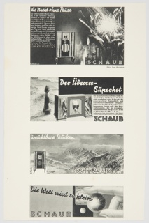 Page with four black and white advertisements for Schaub, a German manufacturer of electrical appliances, particularly tube or radio receivers. The advertisements feature black and white photographic reproductions and with black and white text. The top design features a radio receive at center, with fireworks and a city skyline in the background and white printed text on the left. The design second from the top features a radio receiver at center, with a lighthouse on the left and white and black printed text on the right. The design second from the bottom includes a view of mountains, white text at upper left, and a radio receiver at lower left. The design at the bottom features a thumb and forefinger holding a small globe, with black and white text on the left. Appears to have been part of a Dorland booklet. Verso: Black printed German text.