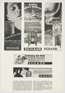 Print, Page Featuring Advertisements for Schaub