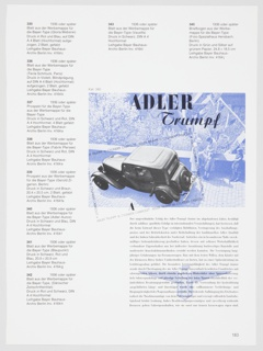 """Booklet page listing 1930s advertisements by Herbert Bayer in black printed German text, with an advertisement for Adler at center right. A black and white photographic reproduction of the Adler Trumpf car is reproduced, and the surrounding figures, houses, and trees are reproduced in blue and white. """"ADLER Trump"""" is printed in black at the top of the image. Verso: Black printed German text."""