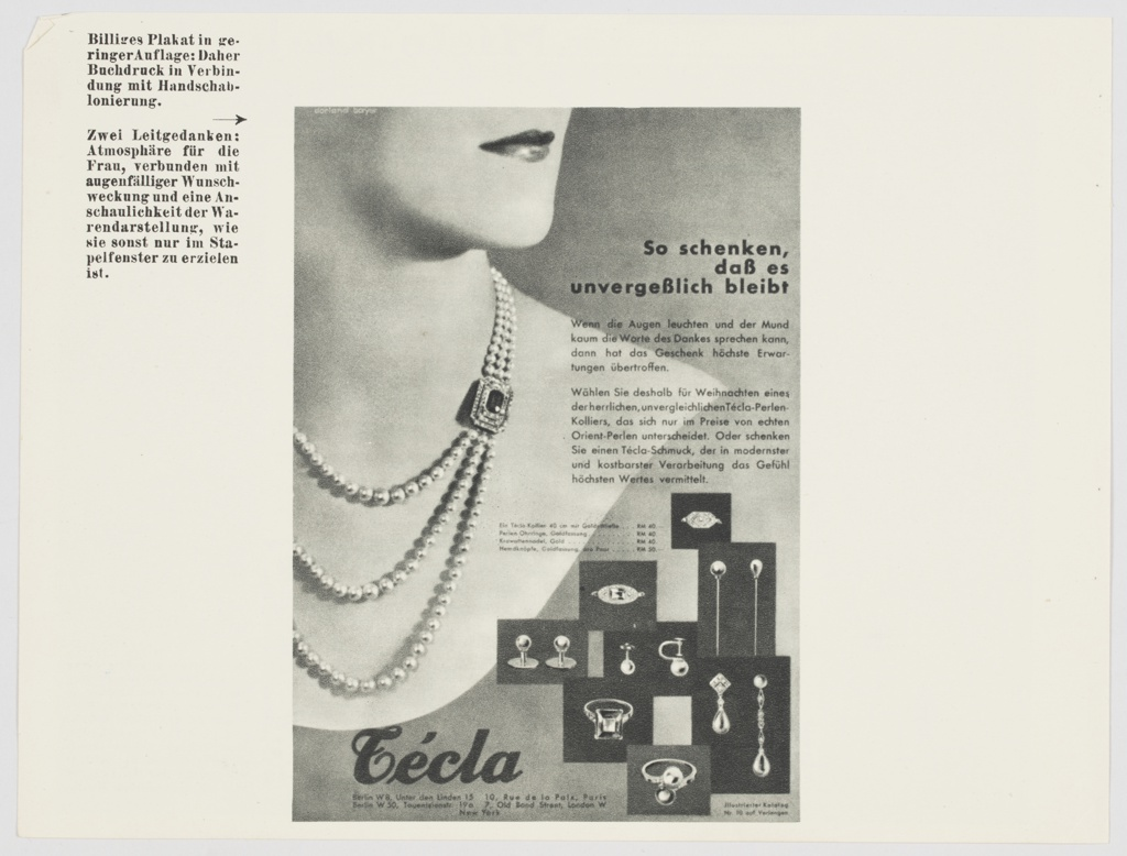 """Page with an advertisement for Técla jewelry. Advertisement features a fancy pearl necklace around a woman's neck. The bottom portion of the woman's face is also visible. Printed in black, upper right side of advertisement: So schenken, / daß es / unvergeßlich bleibt. Additional text in German is printed in black on the right side of the advertisement. Assorted jewelry (earrings, rings) is at lower right. """"Técla"""" is printed in black cursive text along the bottom, with locations listed below. Black printed German text appears to the left of the advertisement, on the upper left portion of the page. Page appears to have been part of a Dorland booklet. Verso: Two black and white advertisements for Miele, a company specializing in domestic appliances. Advertisements include black and white illustrations of vacuum cleaners, with black text in German above. German text is printed in black to the right of the advertisements, on the lower right portion of the page."""
