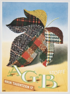 """Advertisement for AGB Stoffe featuring a large leaf made of various plaid and tweed fabrics in autumn colors. """"AGB"""" appears in elegant white block letters outlined in green at bottom. Printed in white, inside an orange rectangle, lower left: BERLIN TAUENTZIEN 17; in white, lower right: STOFFE. The upper portion of the design has a blue background, while the lower portion is yellow. Verso: Black printed German text and an assortment of black and white advertisements."""
