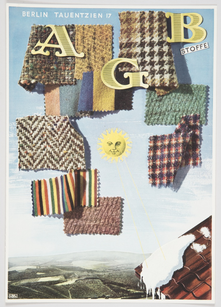 "Advertisement proof for AGB Stoffe featuring a variety of plaid, tweed, and striped fabric swatches arranged along the upper and center portions, with a yellow sun in the center. ""AGB"" appears in elegant yellow block letters on the upper portion, with ""BERLIN TAUENTZIEN 17"" in white at top left and ""STOFFE"" in black inside a white rectangle at upper right. A blue sky is above, with white in the center and greenish-brown land below. A red roof with melting snow appears at lower right."