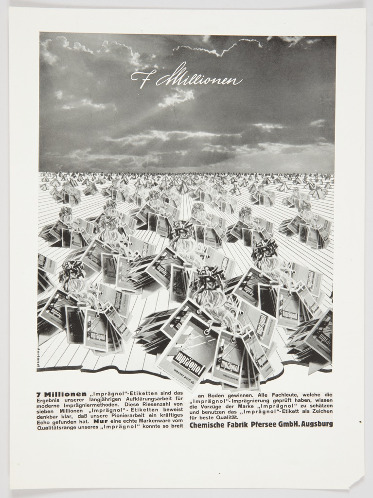 Black and white advertisement proof for Imprägnol featuring cloudy skies, with bunches of  Imprägnol tags below. Printed in white cursive text, upper portion, across the sky: 7 Millionen (7 Million). Black German text printed at bottom.
