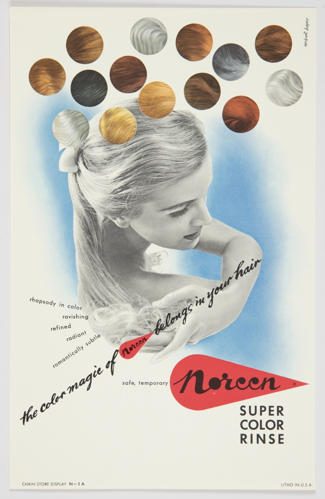 """Printed advertisement proof for Noreen Super Color Rinse. At center, a black and white photographic reproduction of the upper portion of a woman from behind, with light hair tied back and head slightly turned towards the viewer, appears against a light blue background that fades around the edges. Sample hair colors are featured in circles at top. Printed in black, diagonally, from lower left towards center right of the composition: the color magic of Noreen belongs in your hair. The word """"Noreen"""" is actually the Noreen logo, appearing inside a red teardrop. The logo is repeated, in larger size, at lower right, just to the right of the words """"safe, temporary"""" and above """"SUPER / COLOR / RINSE,"""" both printed in black. Printed in black, diagonally, center left: rhapsody in color / ravishing / refined / radiant / romantically subtle."""