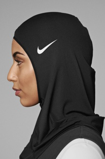 Black headcovering made from stretchy mesh fabric.