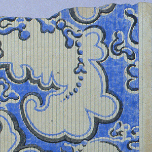 Full width of paper giving portion of repeating design of foliage scrolls on paper printed with fine, close-set parallel lines.