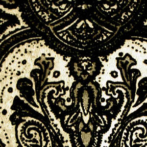 This entire collection is based on the paisley motif. Contains eight different patterns with each shown in multiple colorways. There are screen printed and flocked examples for most patterns.