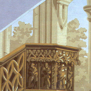 Irregular portion of paper showing pulpit, piers, and Gothic Tracery.