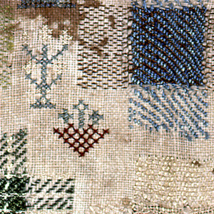 Darning sampler with six darning crosses simulating plain weave, twills and knitting.  Three practice squares and isolated motifs such as crowns, people, and flowers.