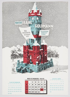 Illustrated calendar page featuring 1941 illustration by Herbert Bayer. Blue and red castle with Isaac Goldmann Co. signage in snowy landscape, gray sky with falling snow beyond. December calendar at bottom center, November at left, January at right.