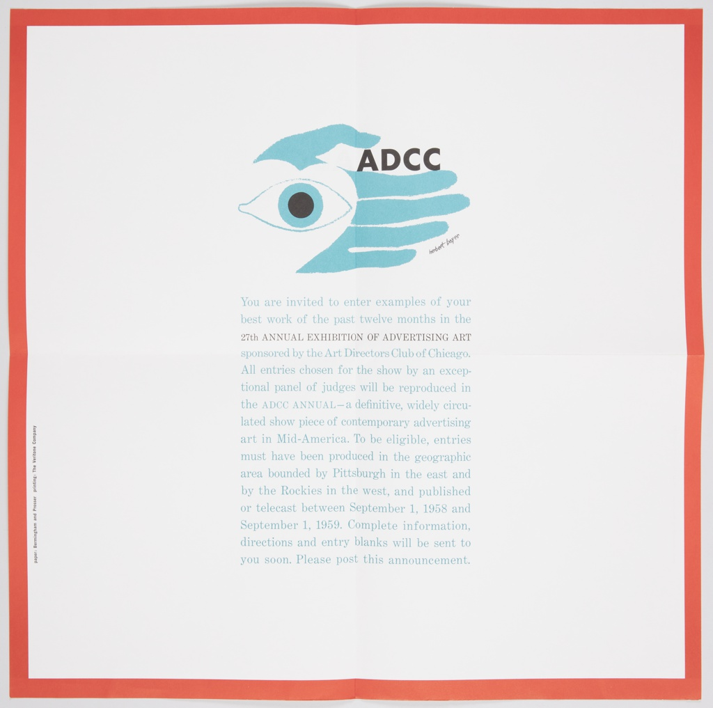 Square poster folded in quarters. ADCC logo at upper center in teal blue: open eye at left, white heart behind, left hand in background so thumb reads as both thumb and eyebrow. In between thumb and forefinger, printed black text: ADCC; red border surrounding poster, text below logo invites participants to enter and describes rules. Printed text at left, vertically: paper: Birmingham and Prosser printing: The Veritone Company. Related to 7012.309.2016 and 7102.311.2016.