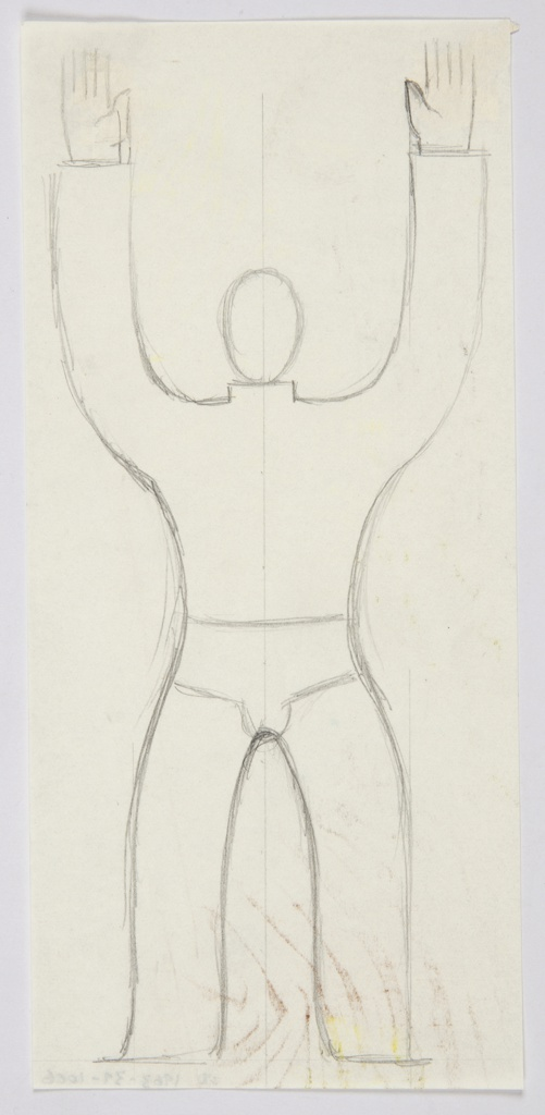 Study of a figure for a Charnaux advertisement (likely the Man's Belt, a corset belt). At center an abstracted figure facing frontally with both hands raised above its head. The figure is depicted wearing briefs and is bisected vertically down the middle with a single line.