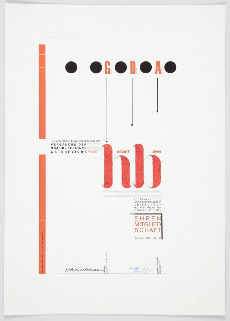 Print, Award to Herbert Bayer from Grafik Design Austria