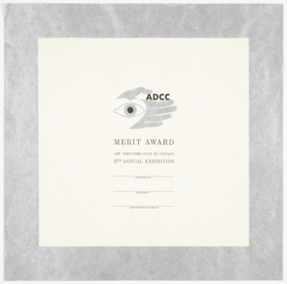Square certificate with thick silver border. ADCC logo at center in silver: open eye at left, white heart behind, left hand in background so thumb reads as both thumb and eyebrow. In between thumb and forefinger, printed black text: ADCC; printed text for merit award template below. Related to 7102.310.2016 and 7102.311.2016.