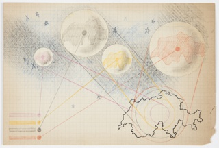 Drawing on graph paper with blue grid background and a black outline of the Soviet Union at lower right. Four planets of differing sizes are seen above with different colored land masses (pink, grey, yellow, and orange) connected to lines that lead to a color key at lower left and the map at lower right. The sky is indicated behind the planets in blue and black, and scattered stars are depicted in graphite and blue color pencil. Verso: Sketch in pink color pencil of overlapping circles. One of the circles is divided into triangular-shaped parts.
