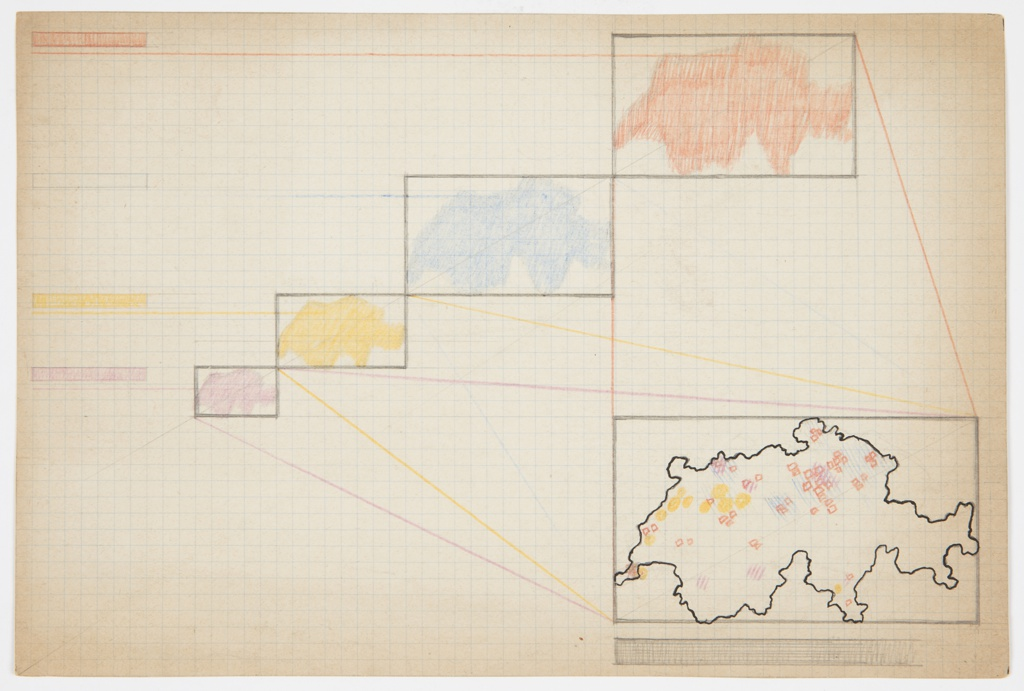 Drawing on graph paper with blue grid background and a black outline of the Soviet Union at lower right with rectilinear border added in graphite. Above, four additional representations of the Soviet Union, each in a different color (orange, blue, yellow, and pink), with rectlinear border in graphite and in descending size, with smallest map at bottom. Colored lines connect these scaled maps to the map at lower right, which is marked with small, blue and pink diagonal lines, orange squares, and yellow circles. Below map at lower right, a rectangle in graphite with gradation appears. A color key is at upper left. Verso: Sketches in graphite of various forms including a clock (upper center), house (lower left), a circle (upper right), and a partially shaded rectangle (upper left).