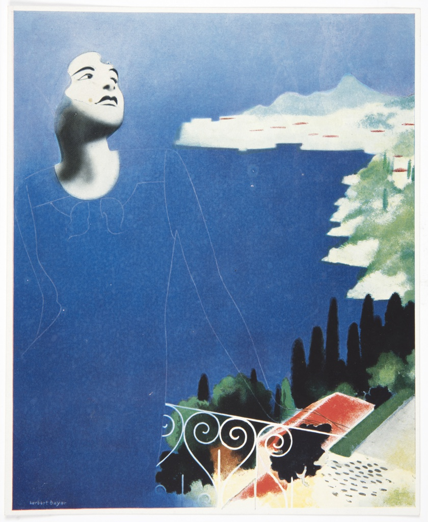 Figure of a woman on balcony in surrealist style, with disembodied face and neck in black and white against blue background, thin white outlines describe the rest of her body. At her right, a white iron fence and view of landscape below with houses, trees, and water. Printed in white, lower left: herbert bayer; inscribed in graphite, diagonally, left verso: de reve lume