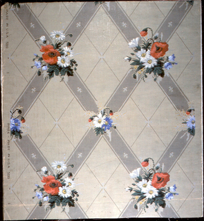 Vertical rectangle, a full width, giving nearly two repeats. Heavy gray lozenge-shaped framework, with alternating large and small bouquets at points of intersection. Secondary framework of narrow gray line, with oblong Maltese crosses at points of intersection.  Printed in white, yellow, greens, violets, black and grey on grey ground.