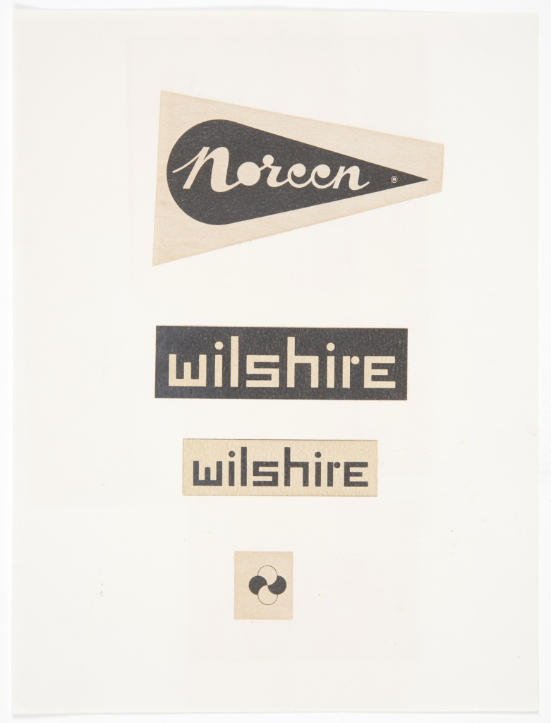 Samples of Bayer's graphic identity designs for Noreen and Wilshire mounted to a single sheet.