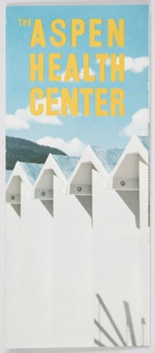 Brochure for the Aspen Health Center, part of the Aspen Institute for Humanistic Studies. Consists of one page, folded into six sections. Includes full-color photographic images by Ferenc Berko and printed black text about the center. Cover features a cropped photgraphic image of architectural details, possibly a row of buildings or a detail of fence. Printed in yellow, upper portion: THE ASPEN / HEALTH / CENTER. Verso: Photgraphic image of people exercising in a room with clear glass in front that provides a view of the mountainous landscape in the distance. Printed in white, along the top: THE ASPEN HEALTH CENTER / ASPEN, COLORADO.