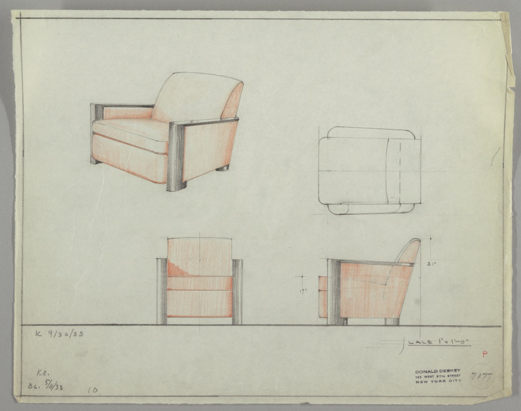Drawing, Armchair, Wood, Upholstered