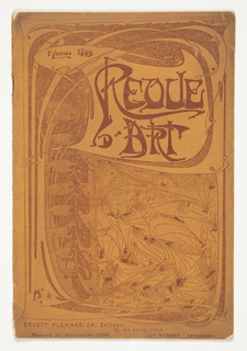 Bound journal with an Art Nouveau-style cover design showing the title (Revue d'Art) in large lettering at upper right. The background of the page is constituted of interweaving organic forms suggestive of foliage. Set against this, from the lower margin climb vine-like elements that evoke roots growing into a tree, its trunk rising along the left margin, and spreading and swirling into a broad canopy above. The title lettering is set against a blank background within this canopy, contained within a loosely rectangular banderole that stretches and swells to within an amorphous border.