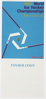 Brochure, 1962 World Ice Hockey Championships, The Broadmoor, Colorado Springs, Colorado