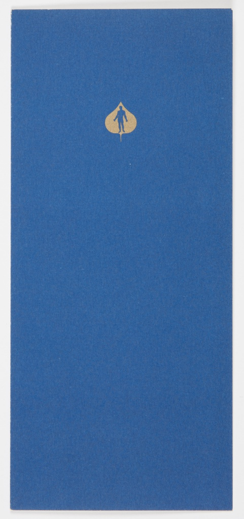 Convocation program bifoliate booklet honoring Martha Graham as the recipient of the Aspen Award in the Humanities on July 30, 1965. Recto and verso are blue. Recto features the Aspen Institute for Humanistic Studies logo—an Aspen leaf with a man inside—in gold at upper center. Interior pages are white. Program is printed in gold on right interior page; Aspen Institute logo is printed in blue at upper center of page. Left interior page is blank.