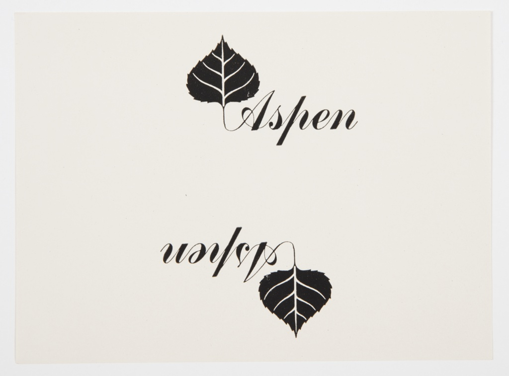 """Print with two reproductions in black of one of Bayer's logo designs for Aspen. Each contains """"Aspen"""" printed in black cursive script, with the left edge of the letter """"A"""" branching into the stem of the black Aspen leaf with white veins. The bottom logo is in reverse of the top logo."""