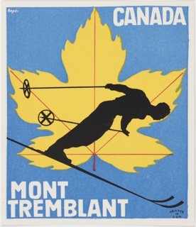 Logo or other design for Mont Tremblant, Canada featuring a black silhouette of a ski jumper with poles extended behind. He is positioned in front of a yellow maple leaf with red veins and a stem. The background is blue. Printed in white, upper right: CANADA; lower left: MONT / TREMBLANT. Includes a white border.