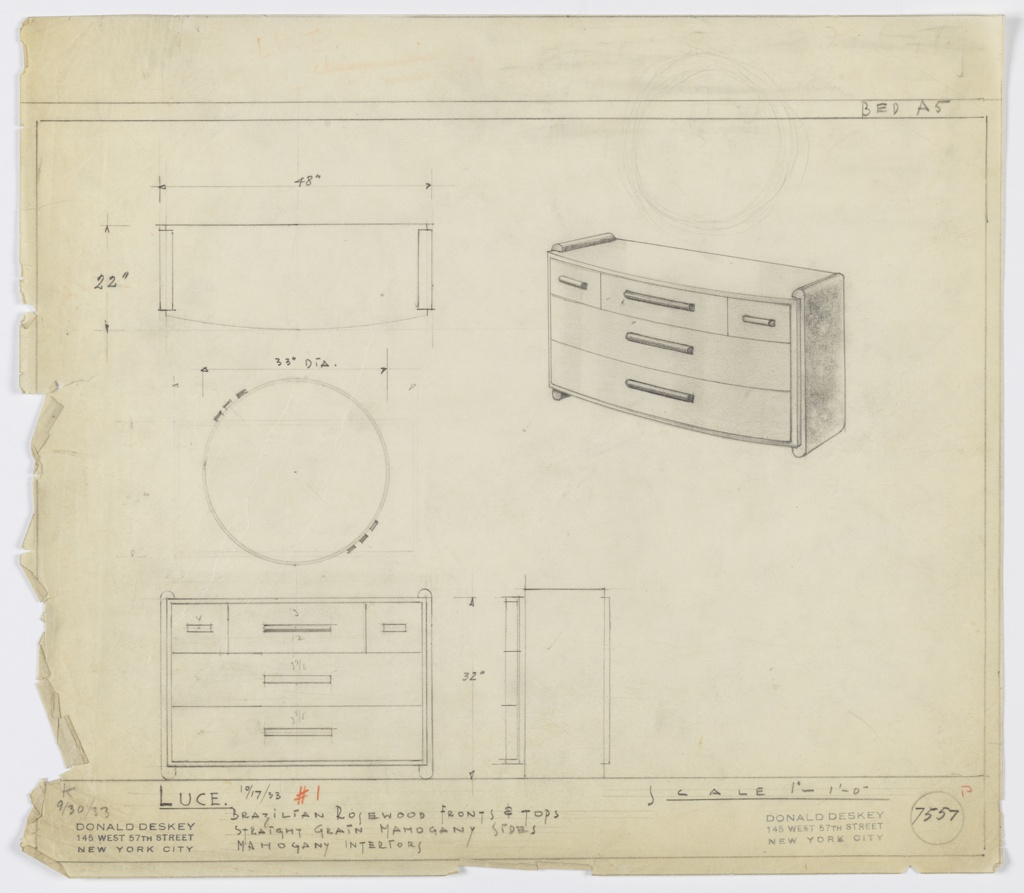 Drawing, Design for Chest of Drawers and Mirror
