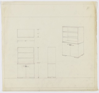 Drawing, Design for Cabinet, ca. 1934