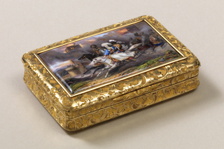 Gold box decorated with all-over C-scrolls; lid depicting scene of Moors carrying off turbaned woman from burning castle.  Inscription in Russian.