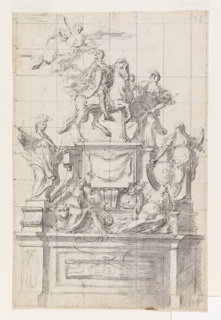 Vertical rectangle. At upper left, an allegorical figure of Victory in flight crowns prince Charles VI, who is on horseback at the top of a pedestal upon a base. Minerva, goddess of war, leads his horse at the right and is identified by the helmet she wears. This group is flanked by Prudence (on left) and Justice (at right) on base.  Fortune and Temperance recline on top of base. Squared for transfer. Scale at bottom.