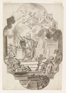 Vertical rectangle. The figure of an abbot stands on a pedestal, holding the Scriptures. Enthralled men listen below.  Above, cherubs and angels float among the clouds. Drawing contained within ornamental outline.