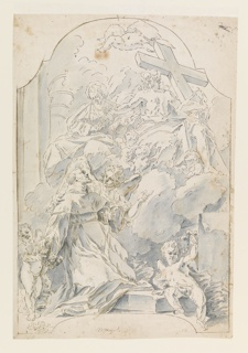 Vertical rectangle. Figure of a saint at left, cherubim at his feet, guided by an angel to look up into the parting clouds to a vision of the Christ carrying the Cross accompanied by the Virgin Mary. Composition contained within ornamental outline with arch at top.