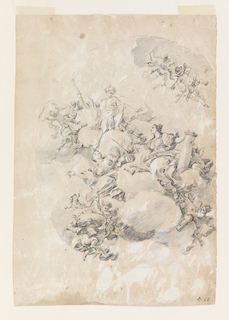 Apollo raises a torch. Strength supports a column and holds her left hand with a sword over a fire. Love has a fire on her forehead and is accompanied by a dog and putti carrying burning hearts. The figures are seated on clouds. More putti are in attendance.