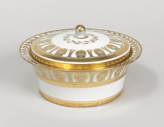 White, with stylized palmettes in gilt. A) circular bowl, the flaring rim with vine motif. B) low cover with knob handle, rests inside rim bowl. C to F are curved to form a circle around the bowl.