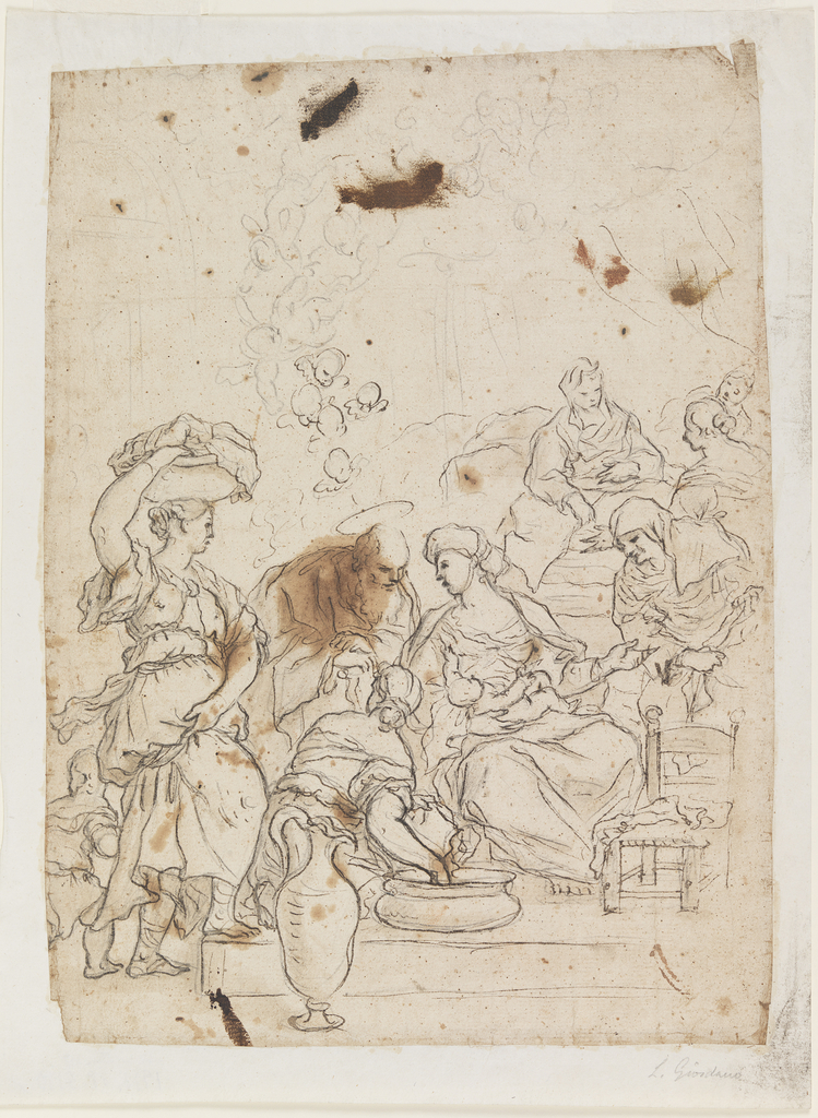 The virgin is seated on a raised platform in the center. She is holding baby Christ in her arms. Several figures attend to the Virgin, including a woman who kneels before her and washes the new mother's feet in a basin. Another woman is bringing the Virgin a basket of goods, which she carries on top of her head.