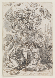 The Virgin borne aloft by putti; below her are figures kneeling in prayer. Verso: head of a woman and child.