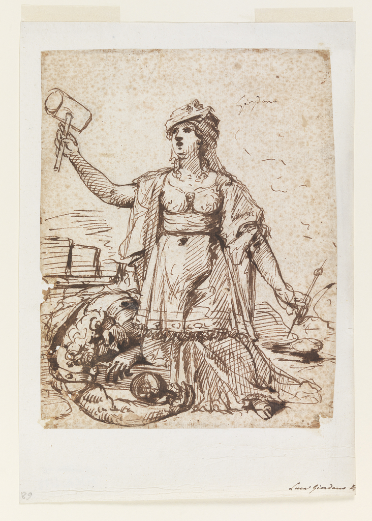 Woman holding a mallet in her right hand and large pin in her left kneels, facing the viewer. Behind her emerge the arms, shoulders, and head of a man drunk, asleep on the ground, tankard in hand.